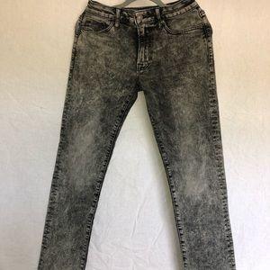 AMERICAN EAGLE Mens Black Acid Wash Slim Jeans